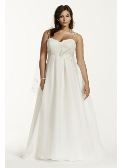 Plus size wedding dress with spaghetti straps davids bridal long ballgown simple wedding dress galina junglespirit Choice Image