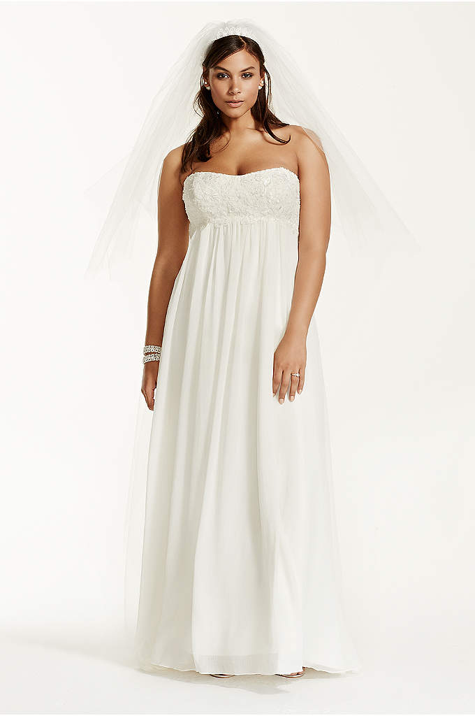 Crinkle Chiffon Plus Size Wedding Dress with Lace - A long and soft silhouette translates to a