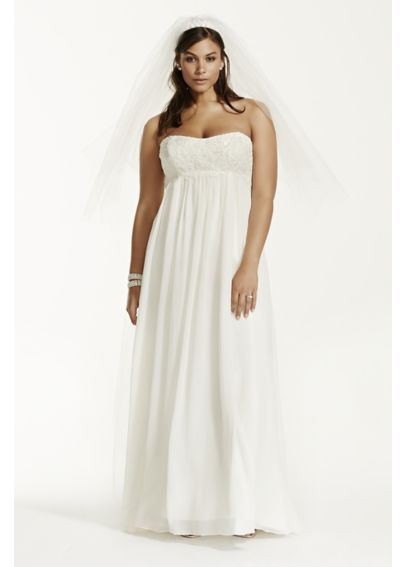 Crinkle Chiffon Plus Size Wedding Dress with Lace 9KP3695