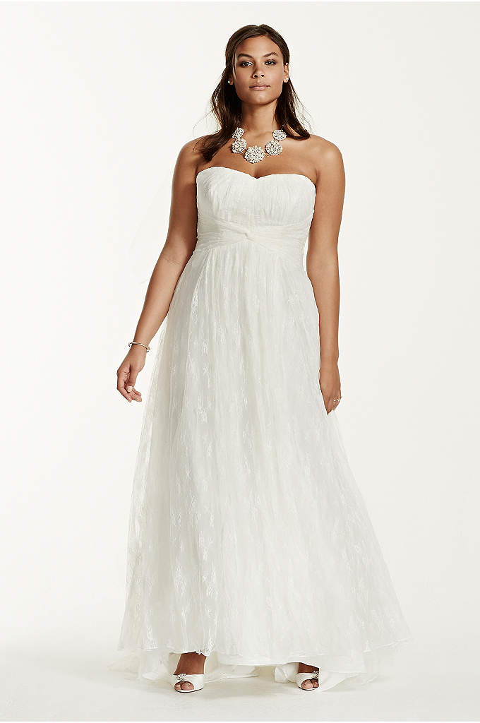 Lace sheath gown with capelet embellishment davids bridal for Plus size sheath wedding dress