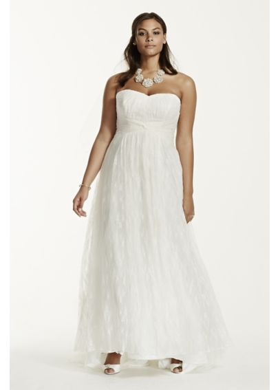 Strapless lace sheath plus size wedding dress davids bridal for Plus size sheath wedding dress