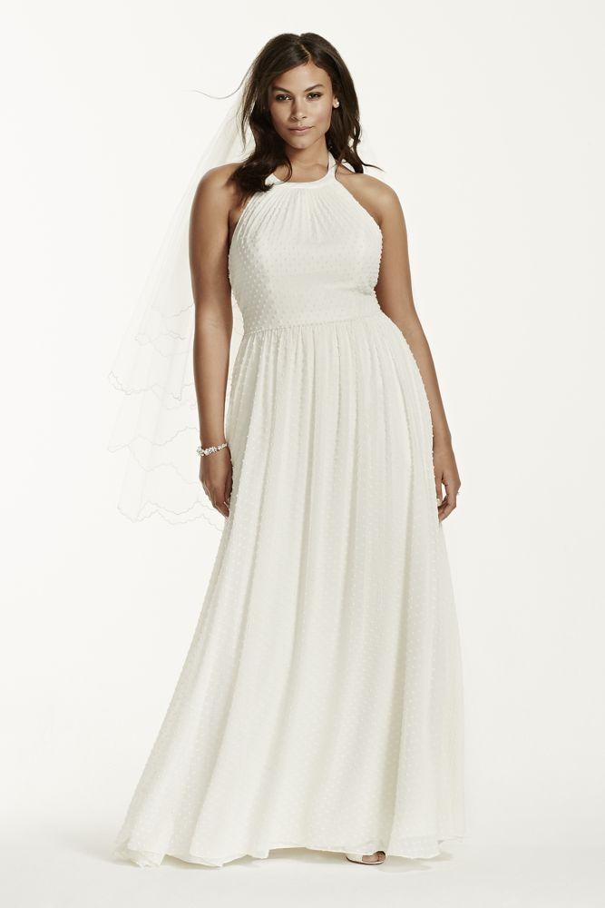 Dotted Chiffon Aline Plus Size Wedding Dress Style 9KP3697