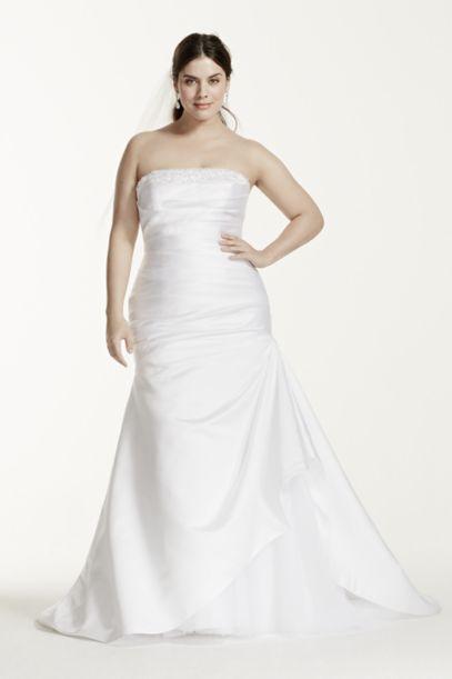 Strapless Satin Trumpet Plus Size Wedding Dress | David's Bridal