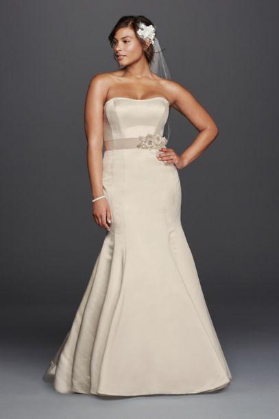 plus size trumpet wedding dress with visible seams | david's bridal
