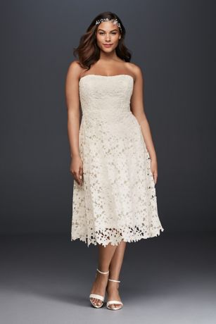 Floral Plus Size Tea Length Wedding Dress | David's Bridal