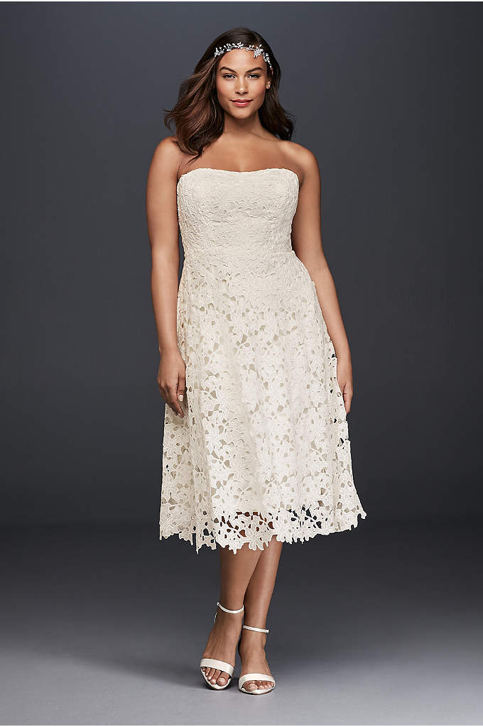 Floral Plus Size Tea Length Wedding Dress - Delicate and sweet, a tea-length dress is a