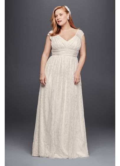 Plus size sheath wedding dress with cap sleeves david 39 s for Plus size sheath wedding dress