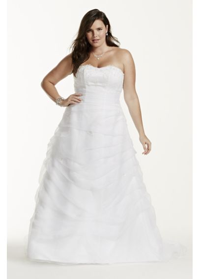 Organza Draped Plus Size Wedding Dress with Beads 9L9479