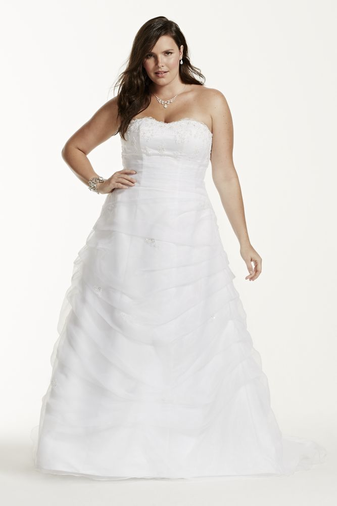Davids Bridal Wedding Dress Organza Draped Pick Up With Beaded Lace Empire S