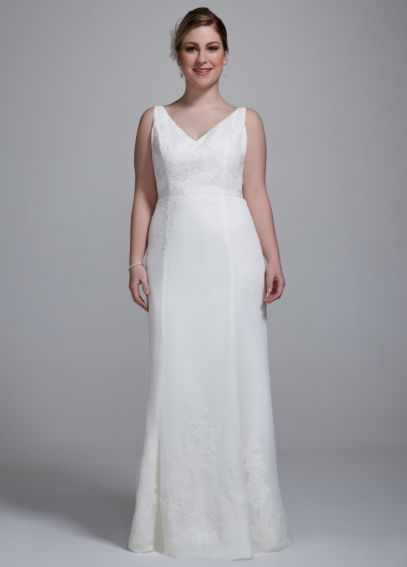 Chiffon Ruffled Plus Size Wedding Dress with Lace  9MB3491