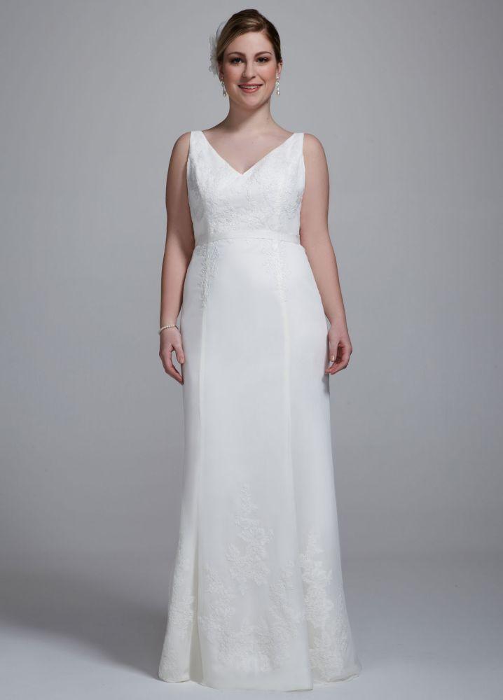 Galina chiffon ruffled plus size wedding dress with lace for Chiffon plus size wedding dresses