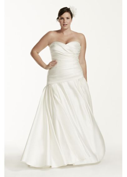Strapless Satin A Line Gown with Ruched Bodice 9MB3651
