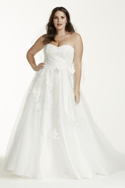 strapless tulle plus size wedding dress with beads | david's bridal