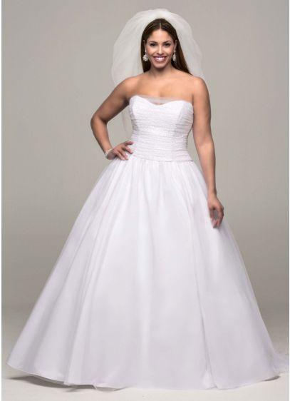 Ruched Corset Back Tulle Plus Size Wedding Dress | David\'s Bridal