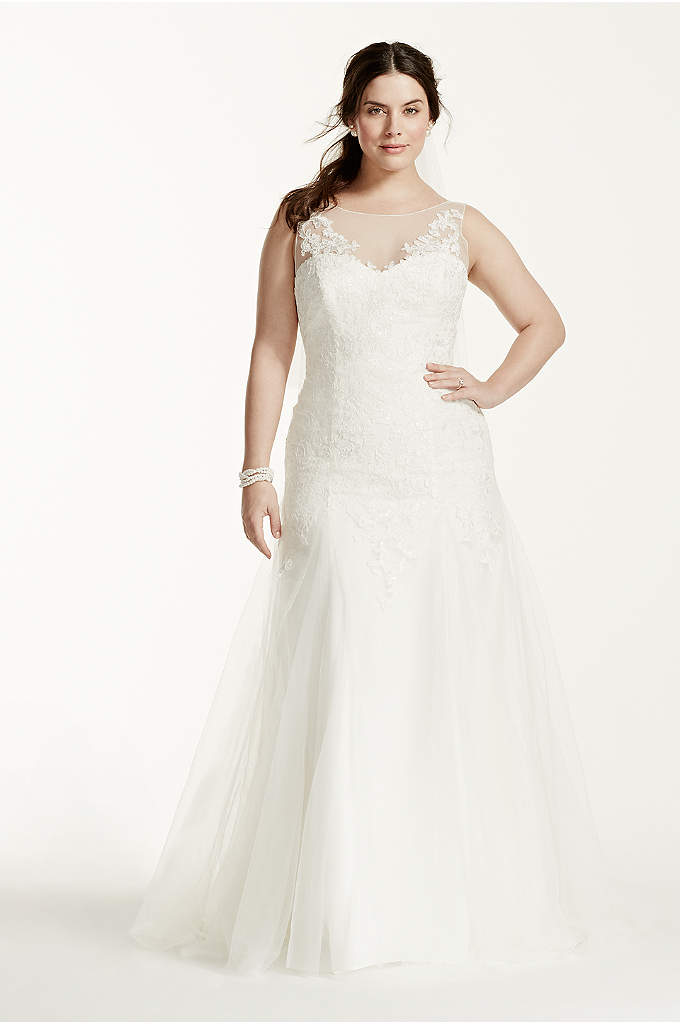Illusion Neck Deep V Back Plus Size Wedding - Your guests won't be able to take their