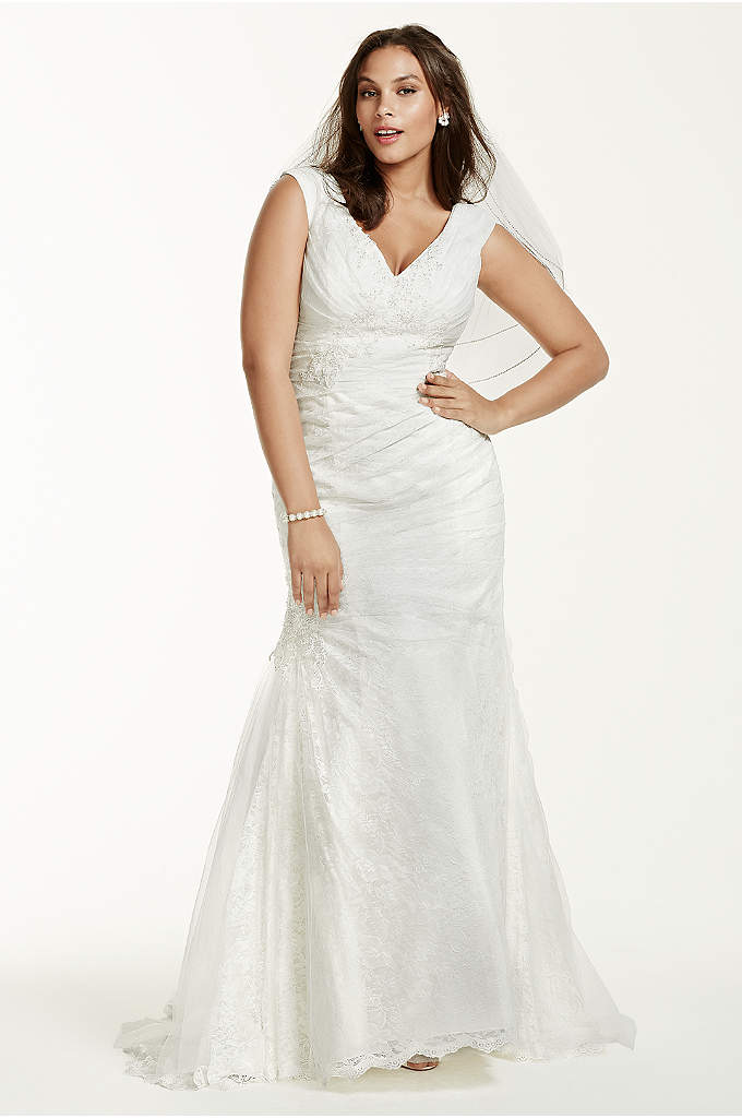 Jewel Off The Shoulder Plus Size Wedding Dress - Exquisitely designed, this beautiful trumpet gown is sure