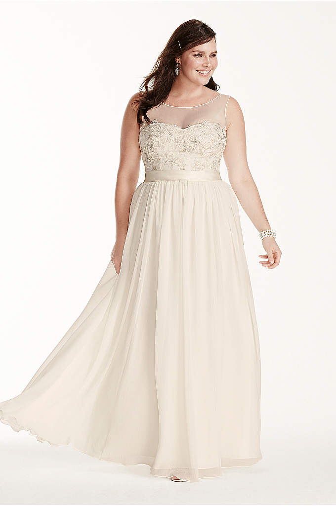 Illusion Tank Plus Size Wedding Dress with Lace - Leave your guests speechless in this stunningly romantic