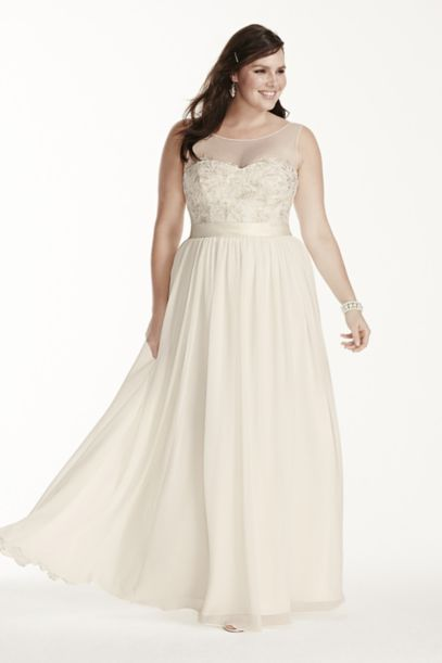 Illusion Tank Plus Size Wedding Dress with Lace | David's Bridal