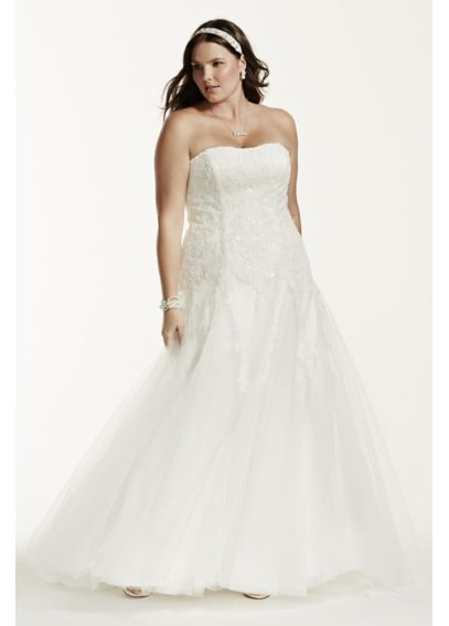 Strapless Beaded Lace Plus Size Wedding Dress 9NTV3469
