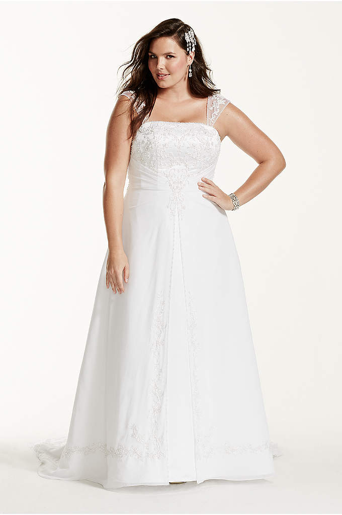 A-Line Plus Size Wedding Dress with Cap Sleeves - Chiffon over satin A-line with removable cap sleeves,