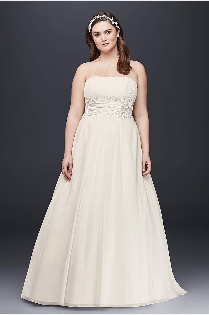 Chiffon A-line Plus Size Wedding Dress with Beads - Beautifully detailed, fitted bodice flows into a soft