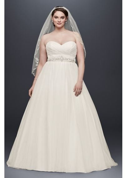 Plus Size Tulle Wedding Dress with Pleated Bodice 9NTWG3802