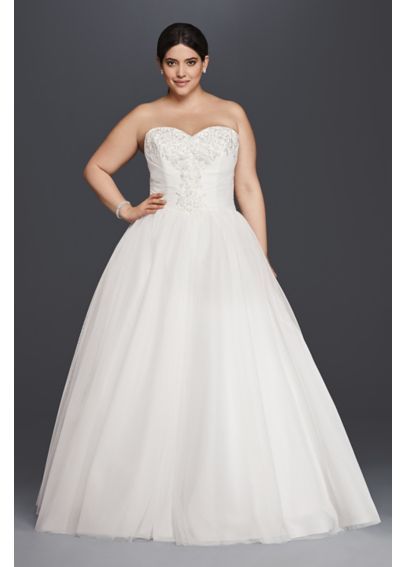 Plus Size Strapless Tulle Ball Gown Wedding Dress 9NTWG3804