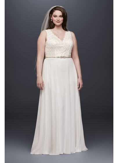 Scalloped lace sheath plus size wedding dress david 39 s bridal for Plus size sheath wedding dress