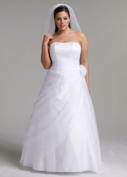 Long Organza Gown with Flower Detail at Waist 9OP1204