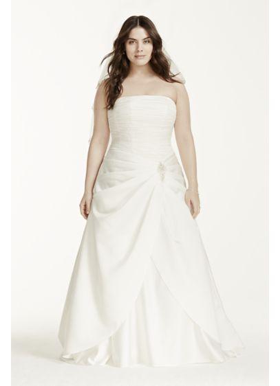 Satin Drop Waist Pleated Plus Size Wedding Dress | David\'s Bridal