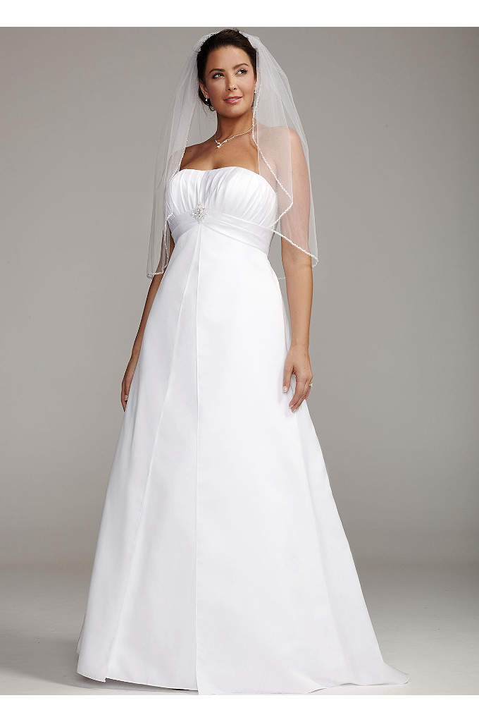 Satin Plus Size Wedding Dress with Pleated Bodice - This stunning satin gown features a ruched empire