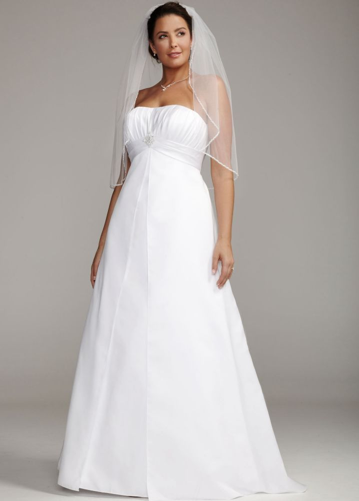 David 39 s bridal strapless satin wedding dress with pleated for Davidsbridal com wedding dresses