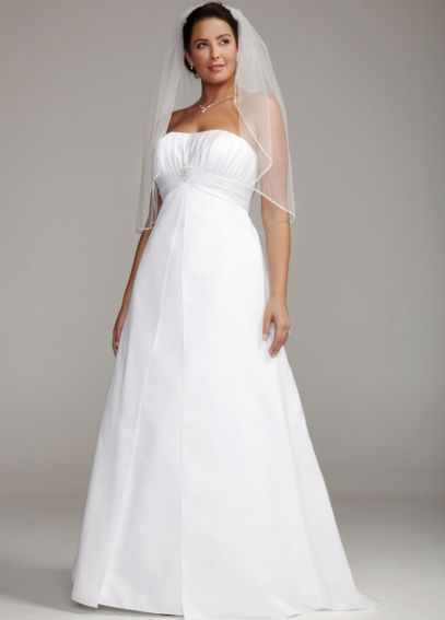 Satin Plus Size Wedding Dress with Pleated Bodice  9OP1223