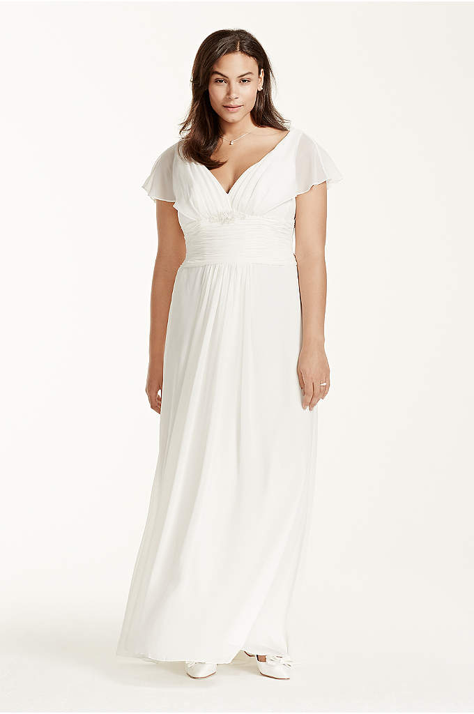 Flutter Sleeve Chiffon Plus Size Wedding Dress - Capture pure elegance and grace in this demure