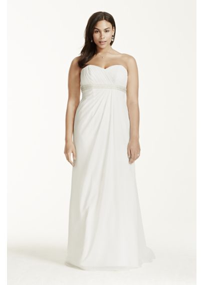 A-Line Plus Size Wedding Dress with Beaded Waist 9OP1238