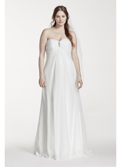 Strapless empire waist plus size wedding dress david 39 s for Plus size empire wedding dress