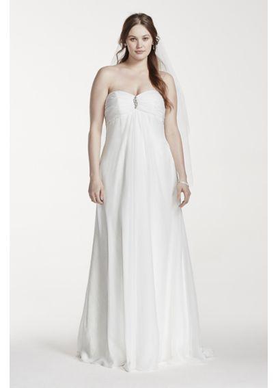Strapless empire waist plus size wedding dress davids bridal for Plus size empire wedding dress