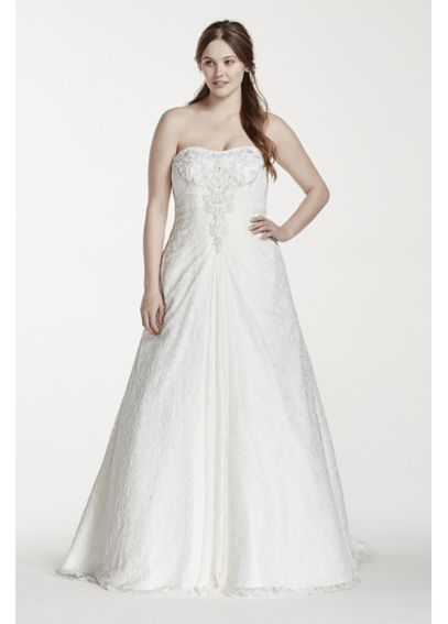Strapless All Over Lace Plus Size Wedding Dress 9OP1240