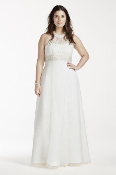 High Neck Halter Chiffon Plus Size Wedding Dress | David's Bridal