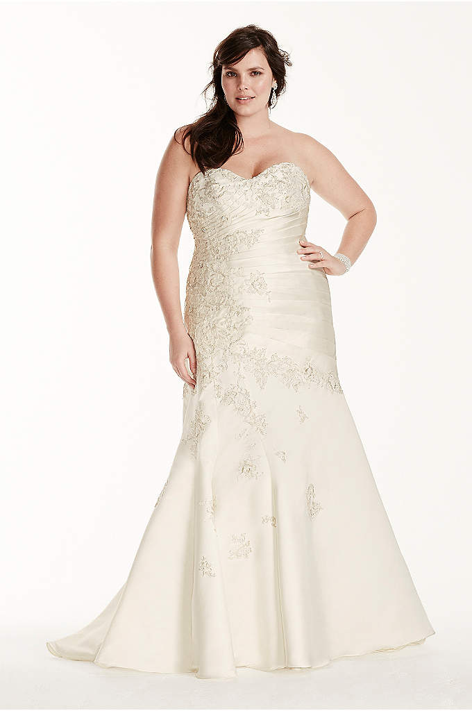 Lace and satin plus size mermaid wedding dress davids bridal for Lace wedding dress davids bridal
