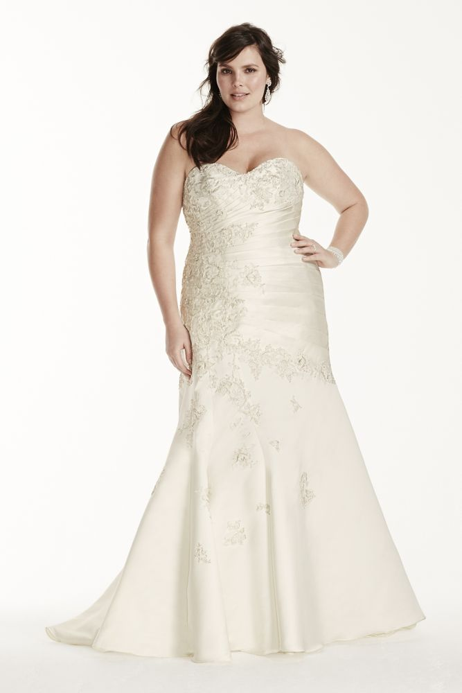 Satin Plus Size Wedding Dress With Lace Applique Style 9OP1246