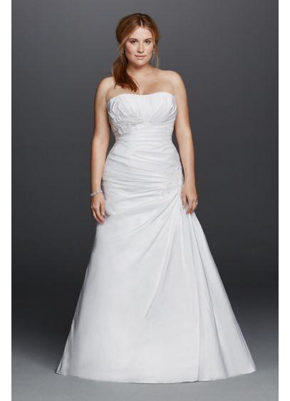 Plus size strapless side draped wedding dress davids bridal for Side draped wedding dress