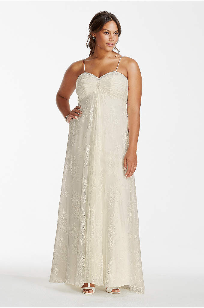 Spaghetti Strap Lace Plus Size Wedding Dress - Free and flowing this sheath lace wedding dress