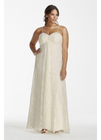 Spaghetti strap lace plus size wedding dress david 39 s bridal for David s bridal princess wedding dresses