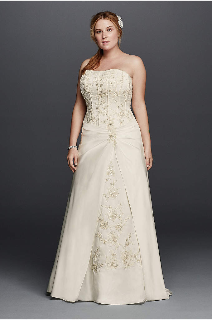 Satin A-line Plus Size Wedding Dress with Corset - Beauty is in the details and this dress