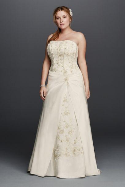 satin a-line plus size wedding dress with corset | david's bridal