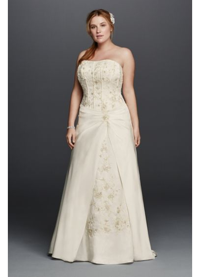 Satin a line plus size wedding dress with corset david 39 s for Plus size silk wedding dresses
