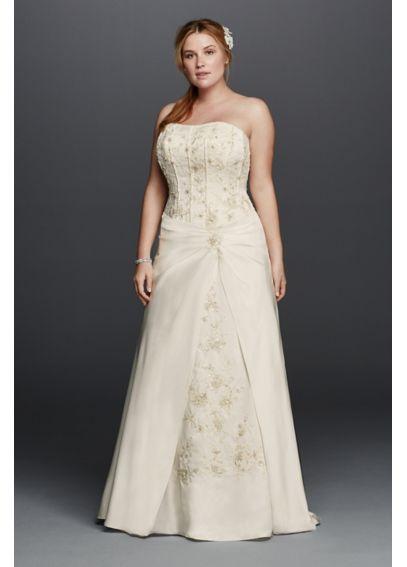 Satin a line plus size wedding dress with corset davids for Corset wedding dresses plus size