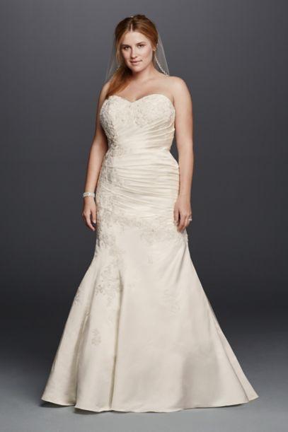 satin trumpet plus size wedding dress with beading | david's bridal