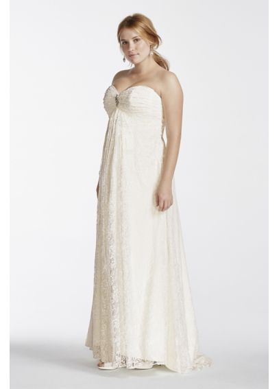 Lace Plus Size Wedding Dress With Sweetheart Neck  9OP1251
